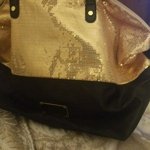 Large Black & Gold Nine West Tote / Purse